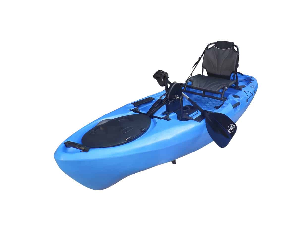 Bkc Pk11 10 6 Single Propeller Pedal Drive Fishing Kayak W Rudder System Paddle And Upright Back Support Aluminum Frame Seat Person Foot Operated Kayak Kayaksboats